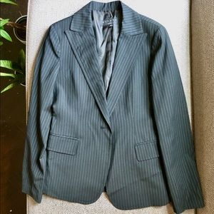 {Sisley} Black Suit Blazer with Blue Pinstripes